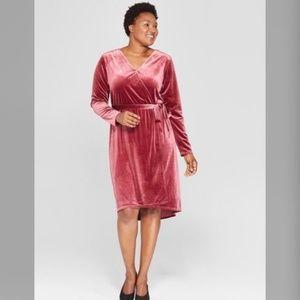 AVA & VIV Pink Velvet Faux Wrap Long Sleeve Dress